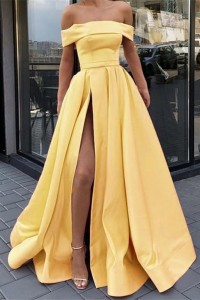 Princess Yellow Ball Gown Prom Evening Dress Off The Shoulder With Slit
