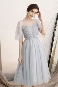 Romantic Tea Length A Line Grey Tulle Prom Homecoming Dress Scoop Cap Sleeves