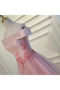 Charming Floral Tea Length Prom Party Dress Pink Tulle Off The Shoulder Corset