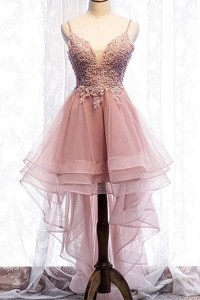 Romantic High Low Floral Prom Party Dress Tiered Pink Tulle Illusion Neckline Spaghetti Straps
