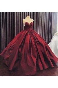 Princess Burgundy Ball Gown Prom Quinceanera Dress Sweetheart Corset With Appliques