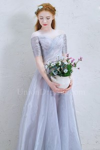 Beautiful Illusion Neckline Short Sleeve Corset Silver Organza A Line Prom Quinceanera Dress With Bow