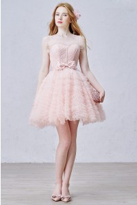 Lovely Scoop Corset Open Back Tiered Pink Tulle Ball Gown Prom Quinceanera Dress With Bow
