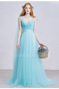 Romantic V Neck Embellished Appliques Ruched Turquoise Tulle A Line Prom Quinceanera Dress