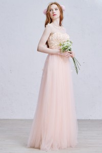 Elegant Scoop Cap Sleeve Corset Beaded Appliques Peach Tulle A Line Prom Quinceanera Dress With Bow