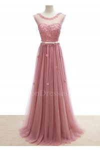 Elegant Scoop Cap Sleeve Corset Beaded Appliques Dusty Rose Tulle A Line Prom Quinceanera Dress With Bow