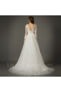 Royal V Neck Long Sleeve Low Back Tulle Skirt A Line Wedding Dress With Appliques