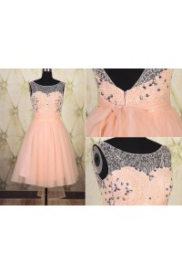 A Line Bateau Neck Low Back Short Peach Tulle Beaded Prom Dress