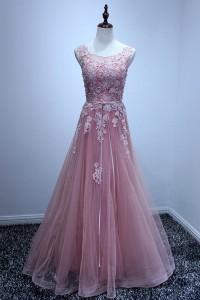 A Line Bateau Neck Open Back Long Light Pink Tulle Lace Applique Prom Dress