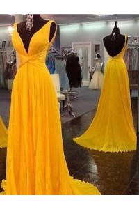 A Line Deep V Neck Backless Long Yellow Chiffon Pleated Prom Dress