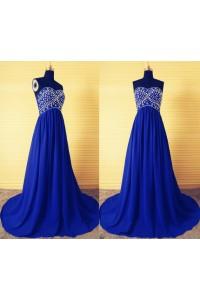 A Line Empire Waist Long Royal Blue Chiffon Beaded Evening Prom Dress