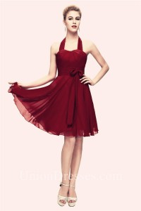 A Line Halter Corset Short Burgundy Chiffon Party Bridesmaid Dress With Sash