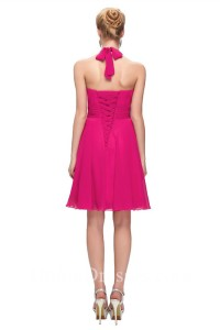 A Line Halter Short Hot Pink Chiffon Party Bridesmaid Dress With Sash