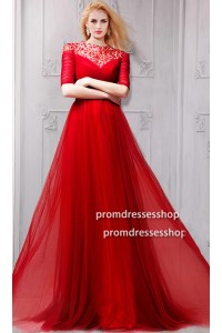 A Line High Neck Cutout Back Red Tulle Beaded Prom Dress With Sleeves