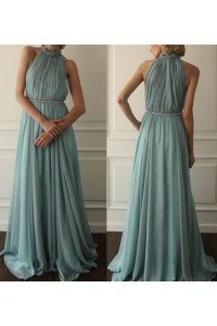 A Line High Neck Long Seafoam Blue Chiffon Pleated Prom Dress With Belt