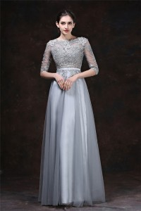 A Line High Neck Long Silver Tulle Lace Evening Prom Dress With Sleeves Belt