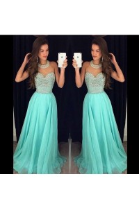 A Line High Neck Sheer Tulle Long Mint Green Chiffon Beaded Prom Dress