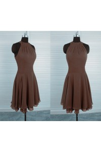 A Line High Neck Short Chocolate Brown Chiffon Ruched Party Prom Dress
