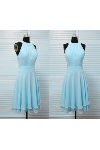 A Line High Neck Short Light Blue Chiffon Draped Wedding Party Bridesmaid Dress