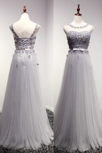 A Line Illusion Neckline Long Silver Tulle Beaded Prom Dress With Bow Sash