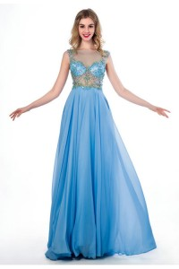 A Line Illusion Neckline See Through Tulle Light Sky Blue Chiffon Beaded Prom Dress
