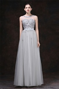 A Line Illusion Neckline Sheer Back Long Silver Tulle Floral Evening Dress With Sash