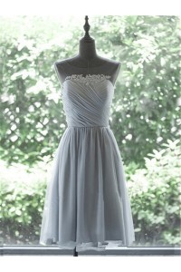 A Line Illusion Neckline Short Silver Chiffon Ruched Party Bridesmaid Dress