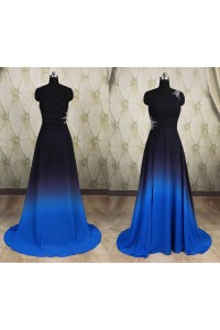 A Line One Shoulder Long Ombre Blue Chiffon Beaded Prom Dress