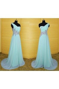 A Line One Shoulder Sheer Back Long Aqua Chiffon Beaded Rhinestone Prom Dress