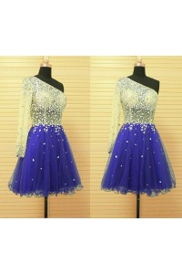 A Line One Shoulder Short Royal Blue Tulle Beaded Prom Dress With Sleeve