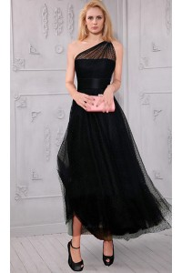 A Line One Shoulder Tea Length Black Tulle Evening Prom Dress