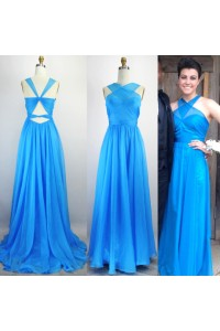 A Line Open Back Long Blue Chiffon Ruched Evening Prom Dress With Straps