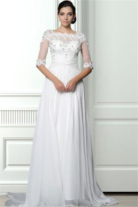 A Line Scalloped Neck Sheer Back Chiffon Lace Beaded Wedding Dress With Sleeves