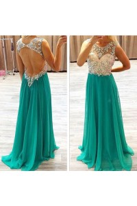 A Line Scoop Neck Backless Long Green Chiffon Beaded Prom Dress