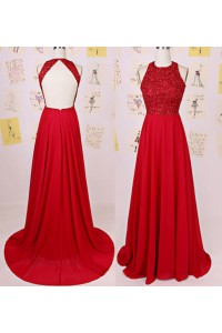 A Line Scoop Neck Backless Long Red Chiffon Beaded Prom Dress