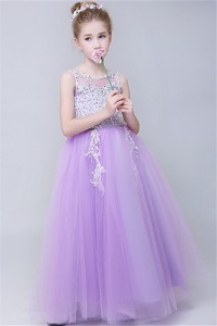A Line Scoop Neck Lilac Tulle Lace Beaded Flower Girl Dress