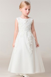 A Line Scoop Neck Tulle Lace Beaded Flower Girl Dress