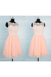 A Line Short Peach Tulle Ivory Lace Party Prom Dress With Buttons