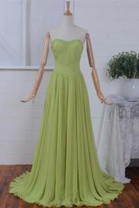 A Line Strapless Drop Waist Long Grass Green Chiffon Beaded Prom Dress