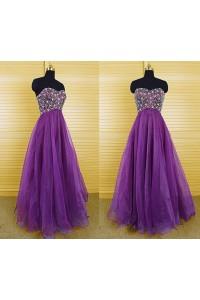 A Line Strapless Empire Waist Long Purple Organza Beaded Prom Dress Corset Back