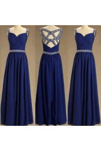 A Line Sweetheart Cutouts Back Long Dark Royal Blue Chiffon Beaded Prom Dress