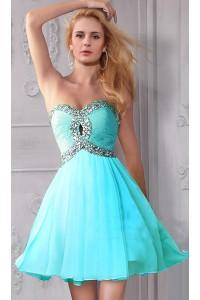 A Line Sweetheart Front Keyhole Empire Waist Short Aqua Chiffon Beaded Prom Dress