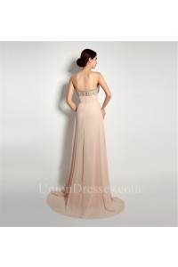 A Line Sweetheart Long Peach Chiffon Beaded Evening Prom Dress