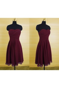 A Line Sweetheart Short Burgundy Chiffon Ruched Wedding Party Bridesmaid Dress