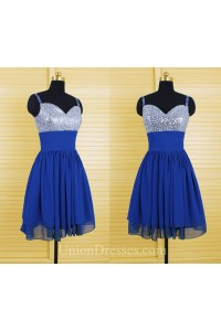 A Line Sweetheart Short Royal Blue Chiffon Sequin Beaded Prom Dress With Straps