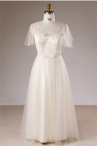 A Line V Neck Butterfly Sleeve Corset Tulle Plus Size Wedding Dress Bow Belt