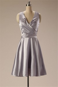 A Line V Neck Full Back Short Silver Silk Ruched Bridesmaid Party Dress