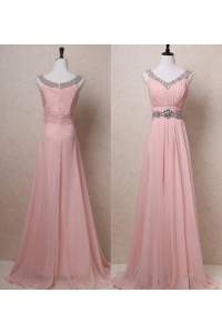 A Line V Neck Long Blush Pink Chiffon Beaded Evening Prom Dress