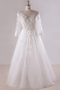 A Line V Neck Long Sleeve Corset Back Tulle Lace Plus Size Wedding Dress No Train
