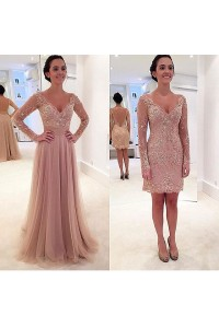 A Line V Neck Low Back Nude Tulle Lace Evening Prom Dress With Detachable Skirt